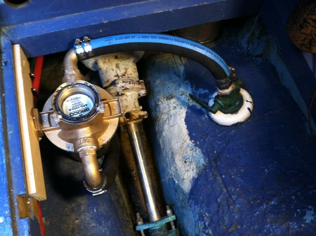 New seawater strainer installed (double hose clamps)