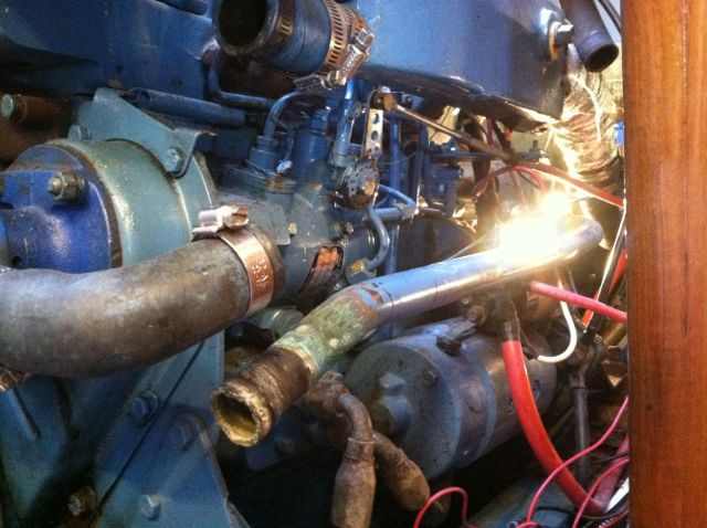 Pump output pipe to heat exchanger