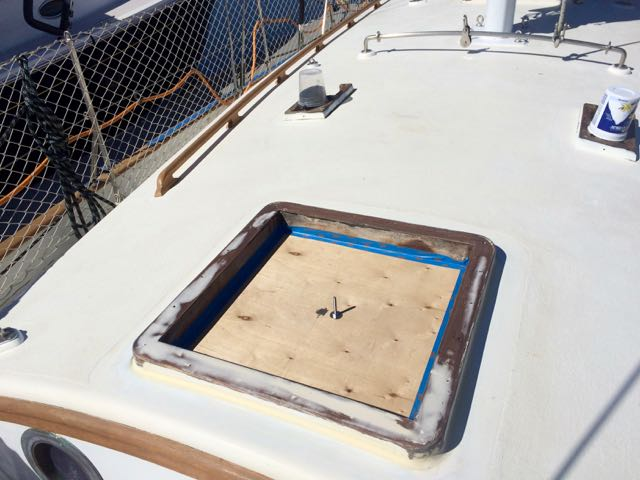 Forward hatch epoxied, sanded and ready for Primekote